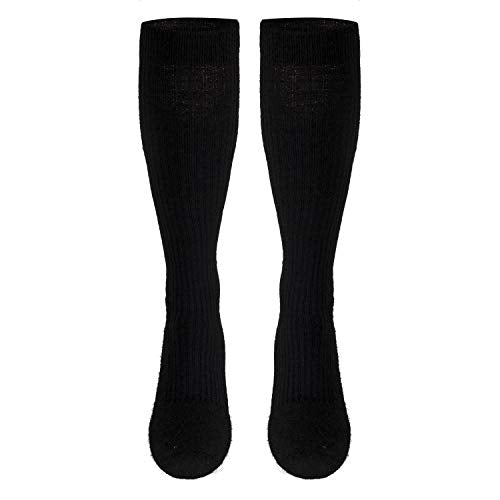 Truform Men's 15-20 mmHg Knee High Cushioned Athletic Support Compression Socks, Black, X-Large (Pack of 2)