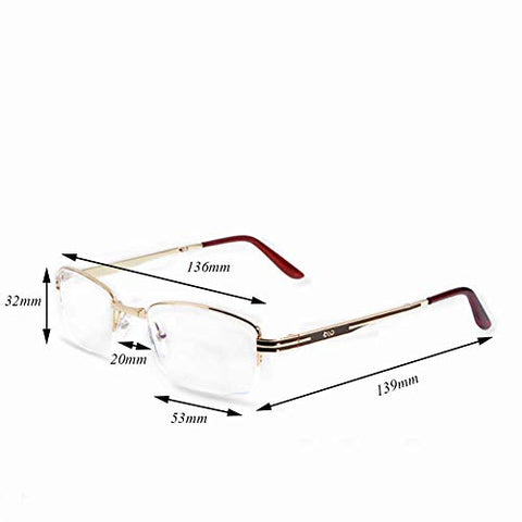 Men's Frameless Reading Glasses, Rectangular Fashion Reading Glasses Blue Blocking,+1.5