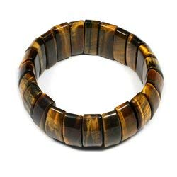 CrystalAge Tiger Eye Nugget Bracelet - Curved Rectangles
