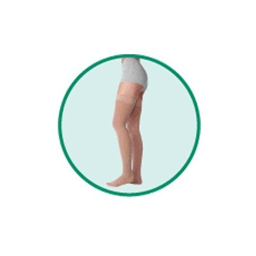 Varin Soft Full Thigh Stocking with Hip Attachment Left, Beige, Size 1, Extra Small, Compression 30