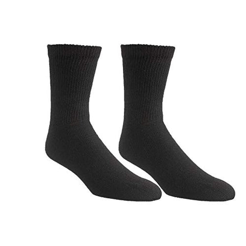 Diabetic Crew Socks  Breathable Cotton Socks  Loose Fitting Comfortable Sock  Non Binding Top Design  Improve Foot Circulation  Painful Swollen Feet Relief (Black (6 Pair), 9 to 11)