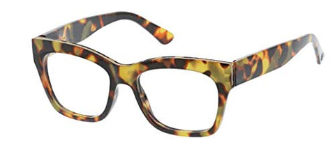 Peepers By Peeper Specs Women's Shine On Focus Square Blue Light Filtering Reading Glasses, Tortoise
