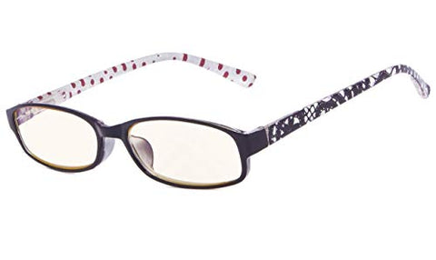 Eyekepper Polka Dots Patterned Temples Reading Glasses (Black Red Dot, 2.00)