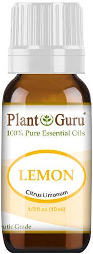 Lemon Essential Oil 10 ml 100% Pure Undiluted Therapeutic Grade Cold Pressed from Fresh Lemon Peel, Great for Aromatherapy Diffuser, Relaxation and Calming, Natural Cleaner.