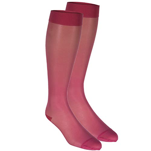 Truform Sheer Compression Stockings, 15-20 mmHg, Women's Knee High Length, 20 Denier, Pink, X-Large