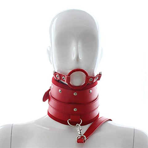 Roly Play Leather Bo`nd-g Choker Neck Collar with Mouth P-l`u-g R-?-s`t-r-?`i+n`t Toys (Red)