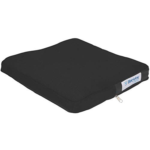 "BackJoy Comfort-Tech 2"" Seat Cushion, Durable EVA Foam, Slip-Resistant, Breathable, Waterproof, Improves Posture, Comes with Removable Cover, Size Large (18""x18"")"