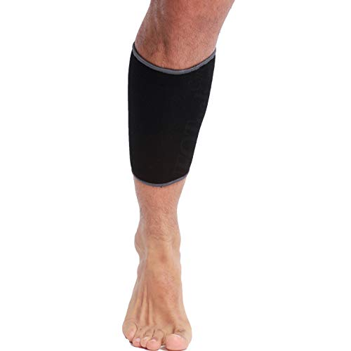 Neotech Care Calf Support Sleeve (1 Unit) - Elastic & Breathable Knitted Fabric - Muscle Pain Relief - Medium Compression - Black Color (Size L)