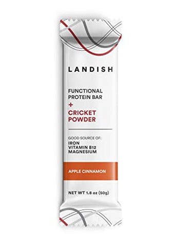 Landish Nutrient-Dense Functional Protein Bar Boosted With Cricket Powder - Apple Cinnamon - 50 Grams - Box of 12 - Gluten Free - Dairy Free - Peanut Free - Nut Free - Non-GMO - Build Strength
