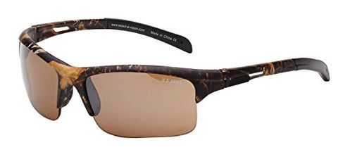 US Army Sunglasses Men's Rectangular Semi-Rimless Sunglasses, Brown Camo
