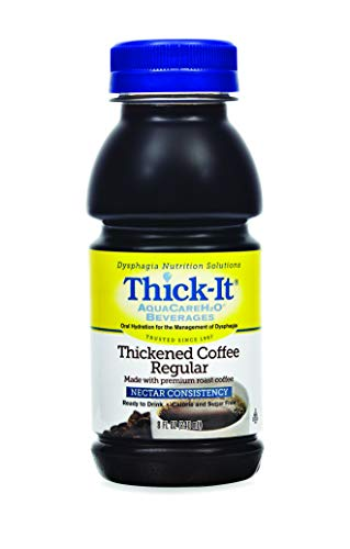 Thick-It AquaCareH2O Thickened Beverage 8 oz. Bottle Coffee Ready to Use Nectar Consistency, B467-L9044 - Case of 24