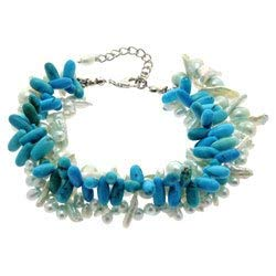 CrystalAge Turquoise howlite, Freshwater Pearl & Shell Bracelet