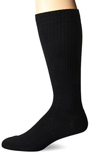 MD USA Ribbed Cotton Compression Socks with Cushion Soles, Black, Large