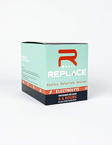 Replace - Sustained Release Electrolytes for Optimal Hydration - Box of 10 Packets (30 Tablets) - Zero Sugar & Calories, Non-GMO, Vegan, Gluten Free - Muscle Recovery & Energy