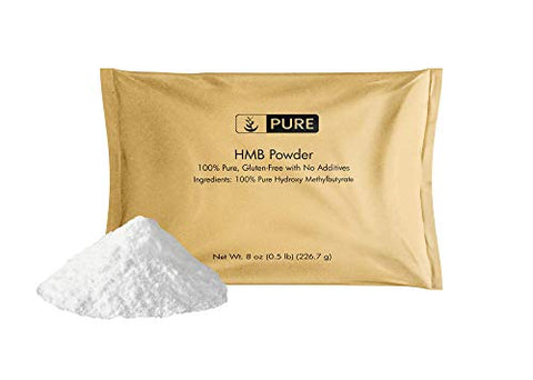 100% Pure HMB Powder, 8oz, 1000mg Serving (Approx. 1/2 TSP), Free of Gluten & Fillers, Enhance Muscle Strength, Made in USA, Undiluted HMB with No Additives, Eco-Friendly Packaging*