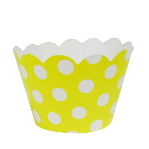 AllyDrew Standard Size Polka Dots Cupcake Wrappers (Set of 20), Yellow