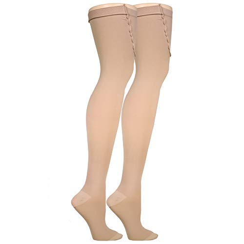 Truform Surgical Stockings, 18 mmHg Compression for Men and Women, Thigh High Length, Closed Toe, Beige, Medium