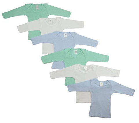 CS-051NB-051NB Boys Pastel Long Sleeve Lap T-shirts44; White with Blue & Yellow - Newborn