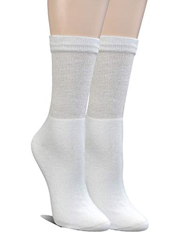 Yomandamor Womens Bamboo Diabetic Crew Socks With Seamless Toe,6 Pairs Size 9-11