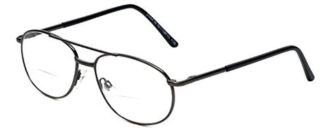 Calabria 1110CB Metal Aviator Bi-Focal Reading Glasses in Gun +1.50