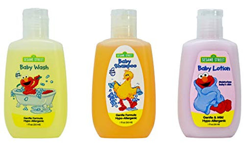 Sesame Street Baby Bath Travel Set (1 Baby Wash, 1 Shampoo and 1 Lotion 1 fl oz. Each). W/ 1 Baby Washcloth