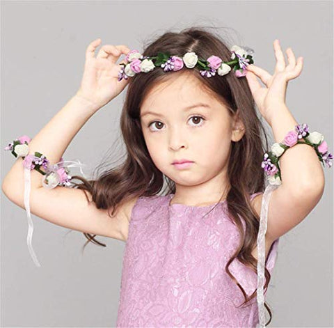 Forest & Rural Style Wreath Suit Queen Princess Bridal Flower Garland Wristband Wreath Headband Crown Hair Decor