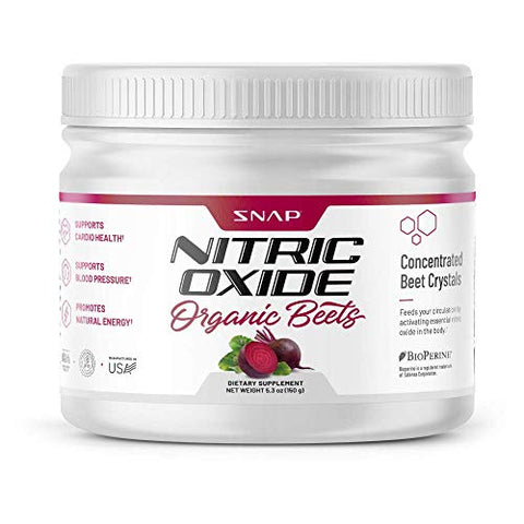 Beet Root Powder Organic - Nitric Oxide Beets by Snap Supplements - Supports Lower Blood Pressure and Circulation Superfood, Muscle & Heart Health - BCAAs. L Arginine, L Citrulline 5.3 oz