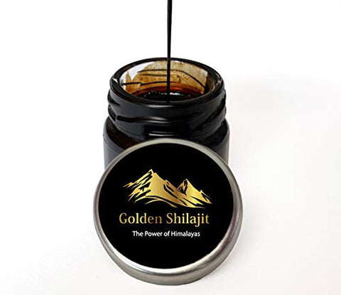 Golden Shilajit Fresh Resin - 40 Grams - World's Finest Shilajeet Guaranteed from It's Origin Directly - New Airtight Jar