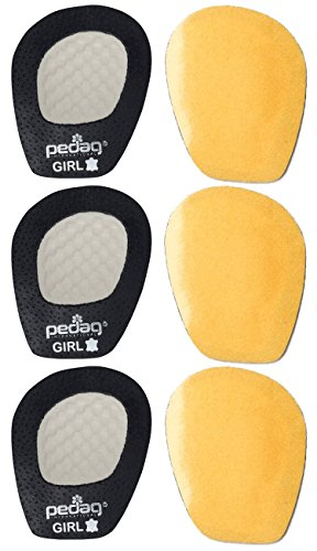 Pedag Get A Grip Girl Forefoot Pads, Black Leather, Pack of 3