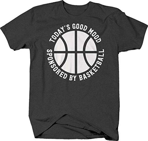 Todays Good Mood Sponsored by Basketball caps Funny Sports Tshirt Medium Gray