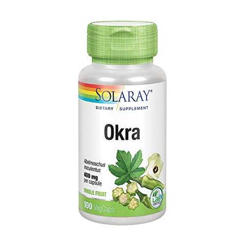 Solaray Okra Fruit 400 mg VCapsules, 100 Count
