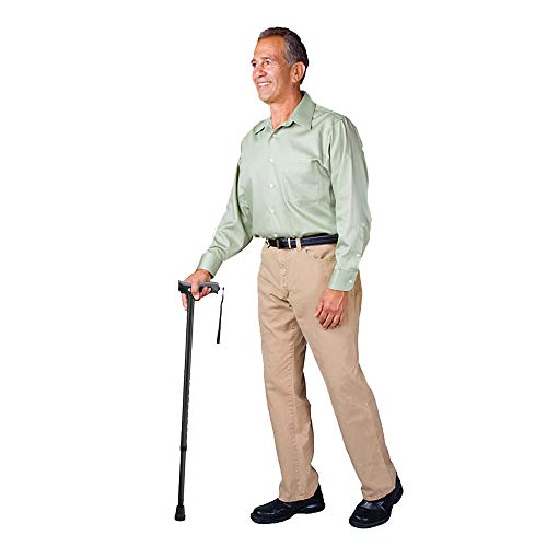 Carex Soft Grip Walking Cane - Height Adjustable Cane With Wrist Strap - Latex Free Soft Cushion Handle, Black