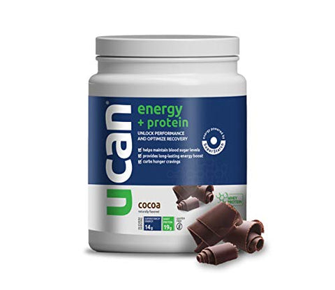 UCAN Energy Protein Powder - Pre & Post Workout, Recovery, No Added Sugar, Gluten Free, Keto Friendly, SuperStarch (Cocoa) - 20 Servings