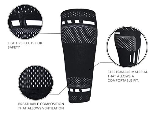 Venom Calf Brace Compression Sleeves (Pair) - Elastic Support Socks for Pain Relief, Strain, Sprain, Shin Splints, Muscle Tear, Cramps, Running, Basketball, Football, Soccer, Men, Women (Large)