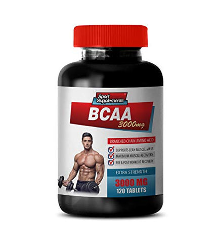 pre Workout All Natural - BCAA 3000MG - BRANCHED Chain Amino ACIDS - bcaa Tablets for Men - 1 Bottle 120 Tablets