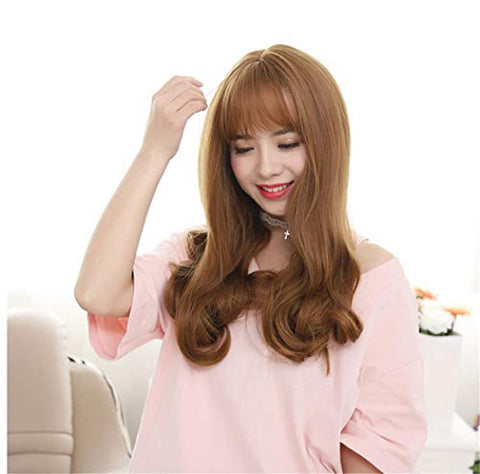 Lovely Funny Friendly Air Bang Long Curly Synthetic Hair Wigs Hallowmas Cosplay Masquerade Role Play Costume Party Accessories with Free Wig Cap (Dark Brown)