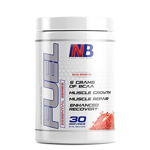 NutritionBizz Fuel 2:1:1 BCAA Powder, 5 Grams of BCAAs Amino Acids, Post Workout Recovery Drink for Muscle Building, Recovery, and Endurance, 30 Servings (Watermelon)
