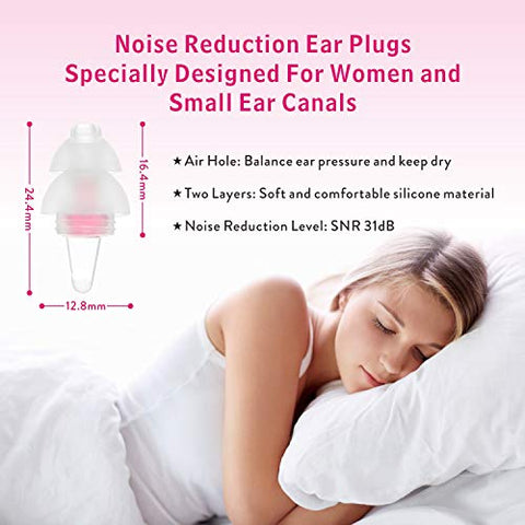 Small Ear Plugs for Sleeping, Ear Plugs for Women with Smaller Ear Canals-Upgraded Ear Plugs(SNR31dB)- Noise Reduction Ear Plugs for Snoring,Work, Office,Airplane Travel, Gardening (Pink)