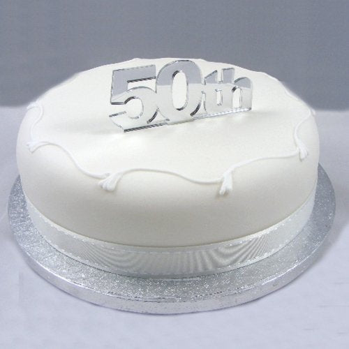 """50th"" Cake Topper Silver Acrylic Mirror - Large"