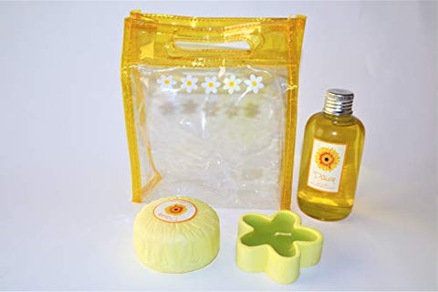 Bath Gift Set | Yellow Daisy Gift Set, Glycerin bar soap, Hand Sponge, Bath Lotion Bubbles, Perfect for Bubble & Spa Bath. for Kids, Gifts idea for Her/Him, Boys, Girls, Babies.