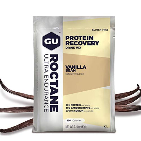 GU Energy Roctane Ultra Endurance Protein Recovery Drink Mix, 10 Packets, Vanilla Bean