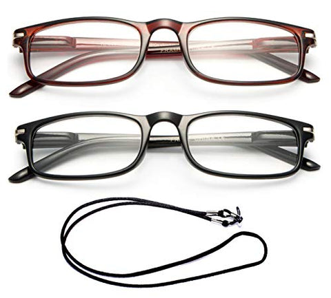 Newbee Fashion - Unisex Modern Look Slim Frame Spring Temple Light Weight Reading Glasses (Packs with Free Lanyard)