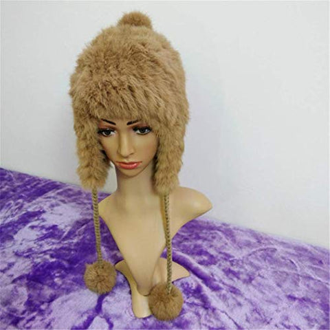 Winter Hat Thick Cap Temperament Knitting Wool Warm Lovely Faux Fur Headband Outdoor Sports Ski Earwarmer (Dark Brown)