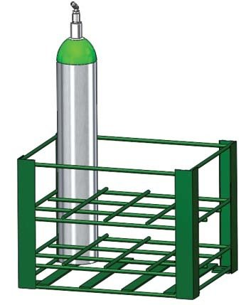 FWF Heavy Duty Oxygen Rack Holds 12 (D OR E Style) CYLINDERS Diameter 4.3