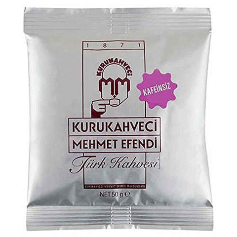 Kurukahveci Mehmet Efendi Cafeine Free Coffee- Non Caffeinated Turkish Coffee (Kafeinsiz Kahve) 50 Gram - Pack of 20