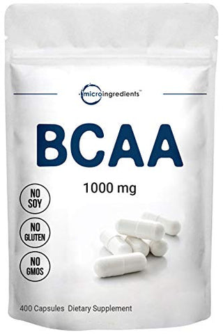 Micro Ingredients Instantized BCAA Supplement, BCAA 1000mg Per Serving, 400 Capsules, BCAA Pre Workout Supplement and BCAA Energy Pills, Non-GMO