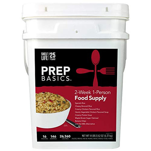 Prep Basics 2-Week 1-Person | Emergency Food Supply | 1,883 Calories Per Day | 45 Grams Protein Per Day | Up to 25 Year Shelf Life | 16 Sealed Pouches