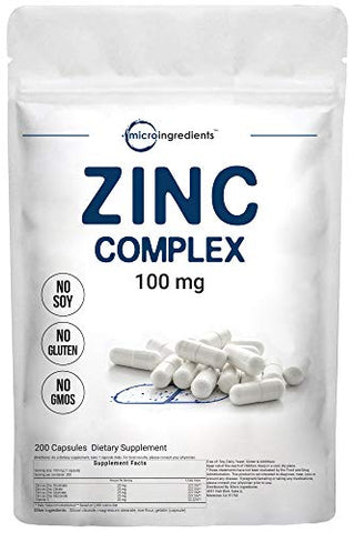 Zinc Complex Capsules, 4 in 1 Elemental Zinc with Vitamin C, 100mg, 200 Capsules, Immune System Booster, Best Zinc Supplements Complex (Zinc Picolinate, Zinc Gluconate, Zinc Citrate, Zinc Glycinate)