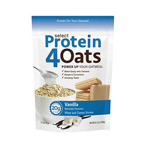 PEScience Select Protein4Oats, Vanilla, 12 Serving, Whey and Casein Blend for Oats and Oatmeal