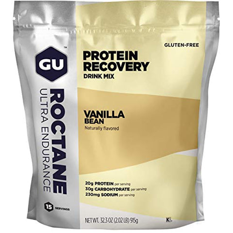 GU Energy Roctane Ultra Endurance Protein Recovery Drink Mix, 15-Serving Pouch, Vanilla Bean